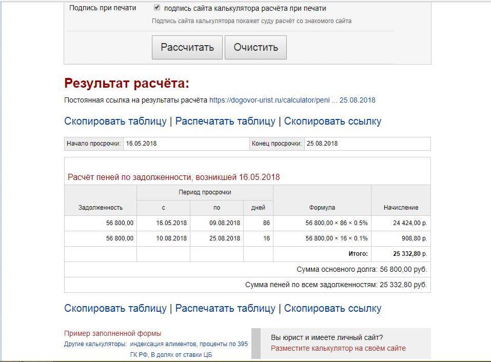 калькулятор расчета индексации долга