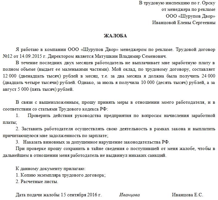 Жалоба в трудовую инспекцию (заявление) в 2019 году