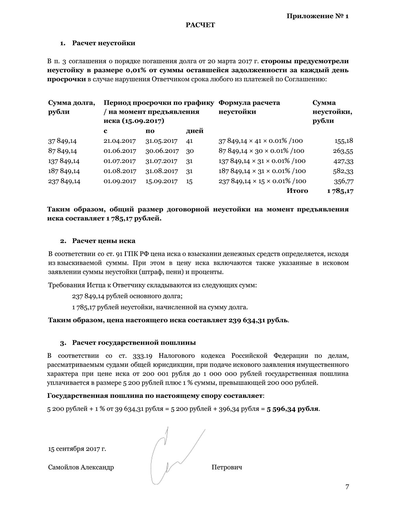 Порядок расчета исковых требований