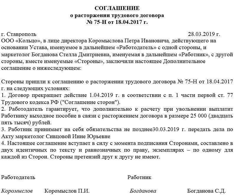 Соглашение о расторжении договора картинки